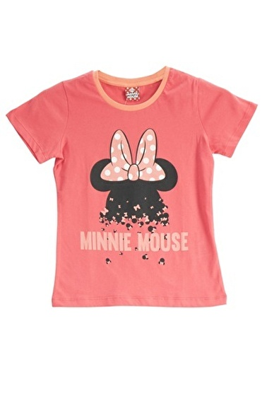 Mickey Mouse Mickey & Minnie Mouse Lisanslı Fuşya Kız Çocuk T-Shirt Kırmızı